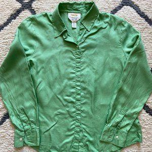 Talbots Petites Silk Button Down Top Green 6P